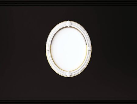 cornice: White oval picture frame on black wall with cornice, 3d rendered Stock Photo