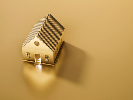 Golden house and land with copy space, abstract concept, 3d rendered