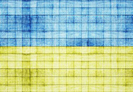 painted wood: Ukraine flag painted on old square blocks wood texture