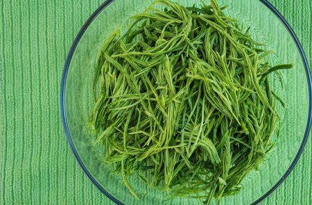 pennata: Close-up Acacia pennata, in bowl, preparation for cook Stock Photo