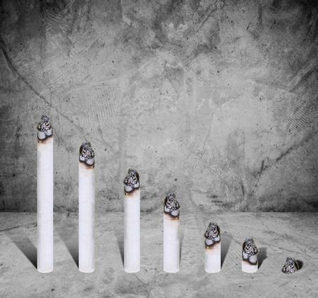 pernicious: Cigarette bar chart, concept of harmful of cigarette, on concrete texture