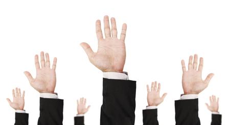 abolition: Hand of businessman raising upward, isolated on white background
