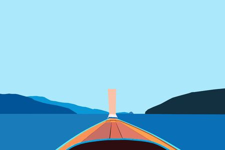 halcyon: Front view boat floating on blue ocean Stock Photo