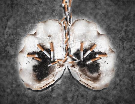 Abstract smoking human lung, world tobacco day, smoking kills concepts