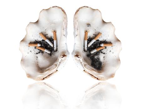 Abstrakt Rauchen menschlichen Lunge, Welt Tabak Tag, tötet Rauchen Konzepte, isoliert auf weißem Hintergrund