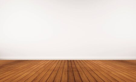 hardwood: Hardwood floor and white wall Stock Photo
