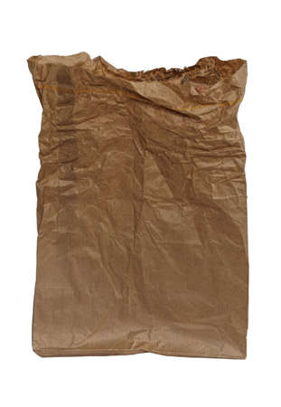 frowzy: Crumpled brown paper bag, isolated on white background Stock Photo
