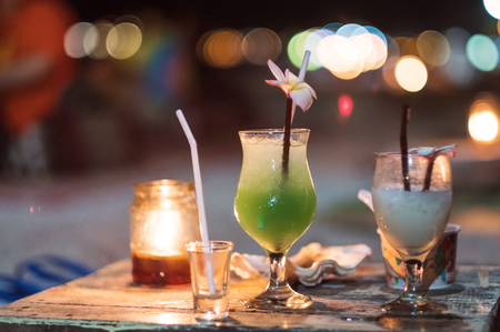 lighting background: Nightlife drinks with Bokeh lighting background, selective soft focus