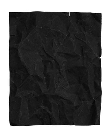 sandpaper: Crumpled black sandpaper, isolated on white background. crumpled paper, sandpaper