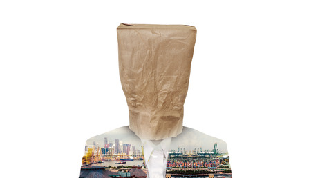 brown paper bag: Businessman with brown paper bag on head, with double exposure of city at suit, isolated on white background