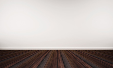 houten vloer en witte muur, met kopie ruimte op de muur