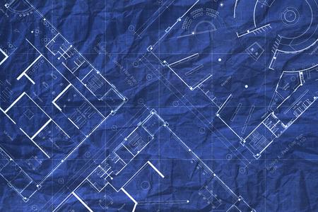 Architecture crumpled blueprint floor plan