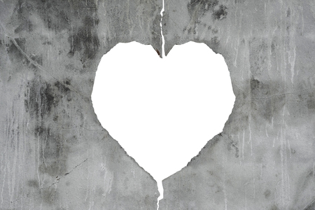 glum: Concrete texture with broken cracked heart shape and white copy space