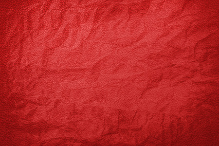 Red crumpled leather texture Stock Photo