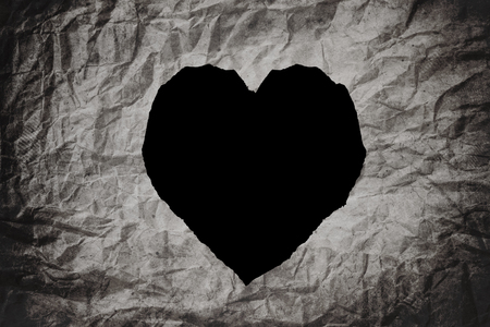loveless: Heart shape, on crumpled paper texture background, abstract texture background Stock Photo
