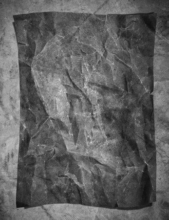 rumple: Old grunge crumpled gray paper texture, on concrete texture background, vertical composition