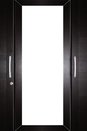 arredamento classico: Primo piano, parte del laminato mobili armadio di legno con copia spazio bianco Archivio Fotografico