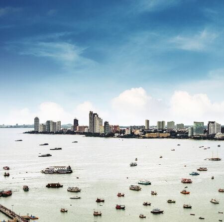 cityspace: Aerial view cityspace of Pattaya city in Thailand with sea, bay and many ships