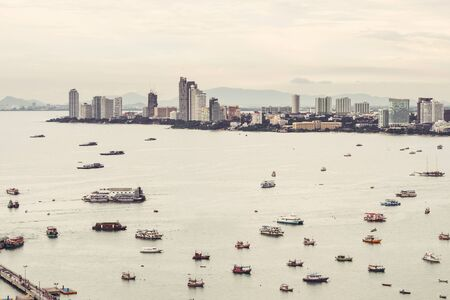 habour: Pattaya city, cityscape with commercial trade habour in Thailand Stock Photo