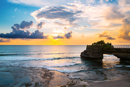 shores: Landscape, Ocean in sunset with cliff and natural arch at Tanah lot, Bali