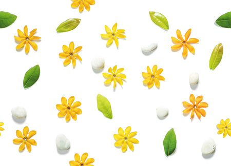 kinfolk: Seamless, flower flowers, green leaves and white pebbles stones Stock Photo