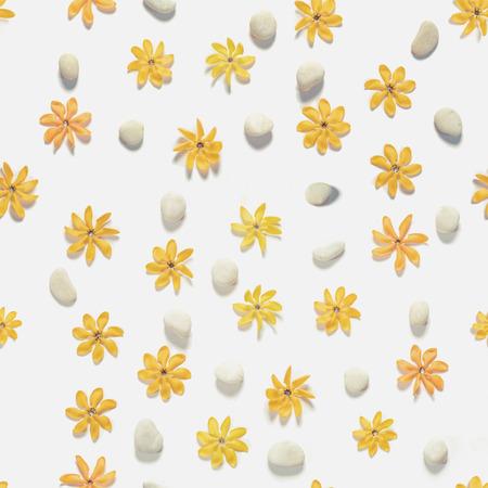 kinfolk: Seamless, yellow flowers and white pebbles stones, vintage tone