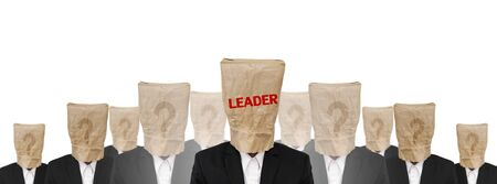 brown paper bag: Group of businessman suit with brown paper bag on head