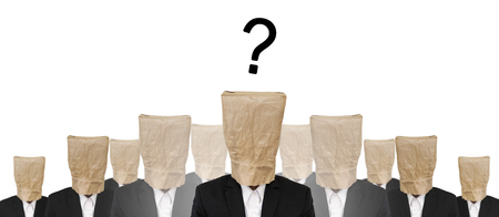 brown paper bag: Group of businessman suit with brown paper bag on head, and Question mark