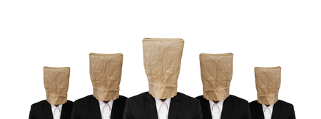 brown paper bag: Five businessman in suit with brown paper bag on head