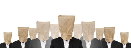 brown paper bag: Group of a guy in suit with brown paper bag on head