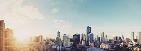 city scene: Panoramic cityscape of Bangkok city in sunrise, vintage tone
