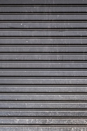 horizontal lines: Old steel garage door stripped texture, horizontal lines