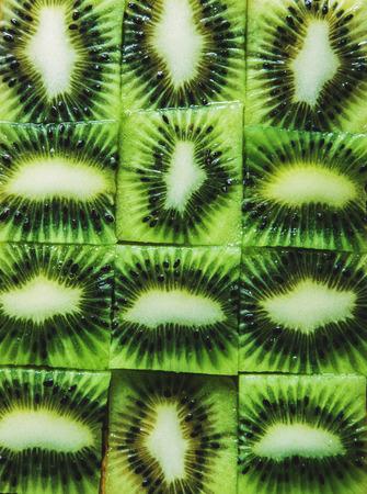 Green slices cube kiwi Stock Photo