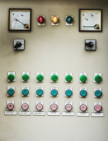 switchboard: Old switchboard industrial light control with many buttons Stock Photo