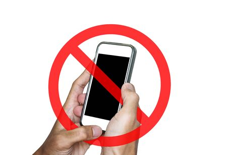 No phone or taking a photo not allow, sign, isolated on white background Stock Photo