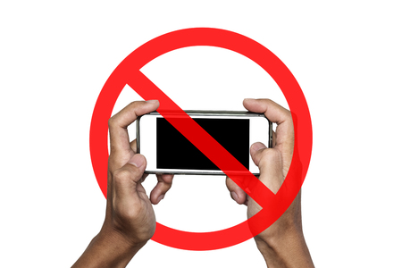 No phone or taking a photo not allow, sign, isolated on white background Foto de archivo