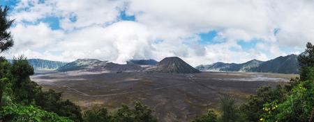 Panorama landscape, Mount Bromo volcano, Java, Indonesia Stock Photo