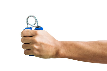 gripper: Close-up a man hand exercise by using hand gripper, isolated on white background Stock Photo