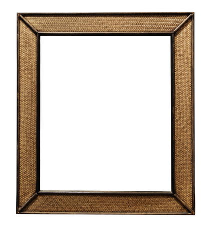 mirror frame: Rattan wicker wooden picture frame, rattan wicker wooden wall mirror decorate, isolated on white background