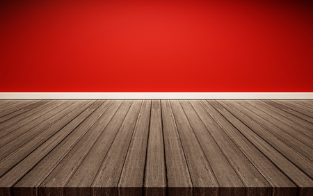 White Wood Floor Panels With Red Wall Texture Background Stock