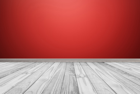 White Wood Floor Panels With Red Wall Background Stock Photo