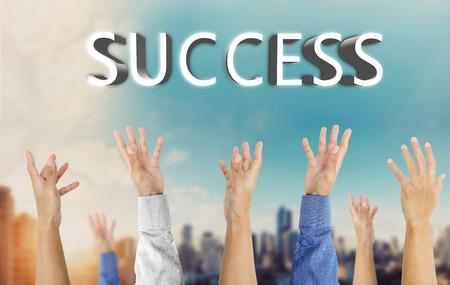 hand raising: Various hand raising up, grabbing success, business success concept