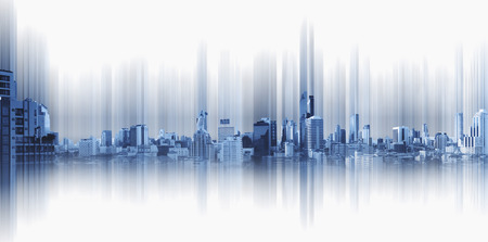 Blue panoramic city with motion graphic, technology city connection Standard-Bild