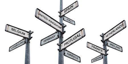 Europe destinations signpost, isolated on white backgrounds Stock Photo