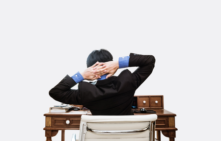 exhausting: Relax Businessman at working table, on white background