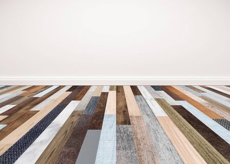 living room interior: Wood floor with white wall, interior empty space for backgrounds