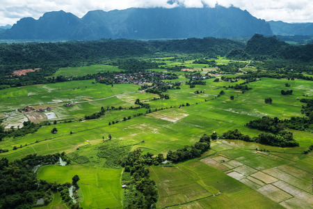 Landscaped high angle view of countryside Vang Vieng in Laos Stock Photo