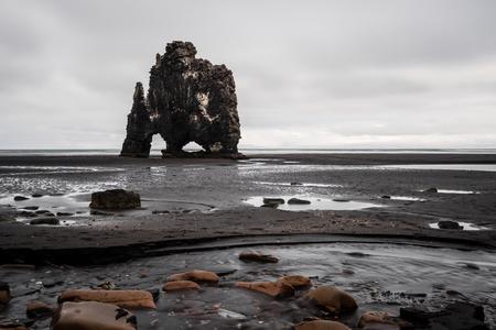 Landscaped of Hvitserkur rock formation, in northern Iceland Stock Photo