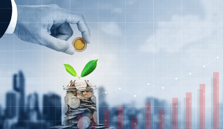 Business investment, saving money and business growth Archivio Fotografico