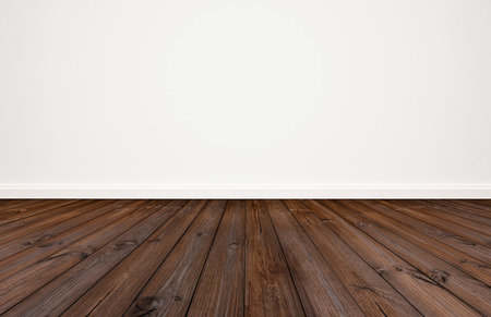 Dark wood floor with white wall background
